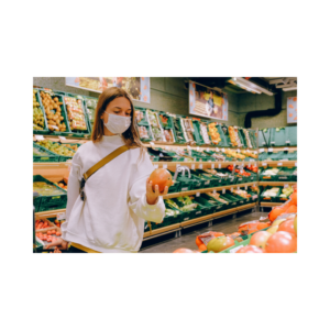 wearing a mask while grocery shopping